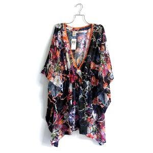 Rachel Roy | Drawstring Cover-Up Floral Tunic XL